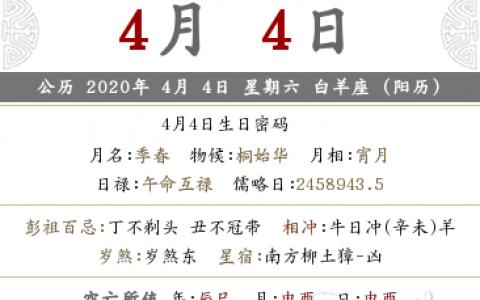 在线精准算命,2020庚子年农历三月十二日子黄历查询,吉利吗?